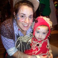 Here's a picture of my daughter and I dressed for Halloween. She was spaghetti and meatballs and I was a rodeo clown.