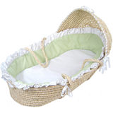 Moses Basket with Hood - Gingham - White / Sage