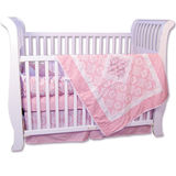Trend Lab Versailles Pink &amp; White 4 Piece Crib Bedding Set