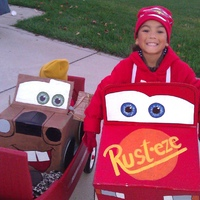 Lightning McQueen (DD) & Mater (DS, in the yellow hat). Handmade by Mom
