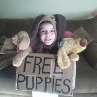 I made the puppy costume and we took my 5-year-old favorite puuppy stuffed animals!