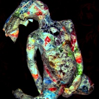 Birthing woman paper mache sculpture