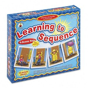 Carson-Dellosa Publishing CD-3121 Carson-Dellosa Learning To Sequence 4-Scene Set, 48 Picture Cards, PreK-3