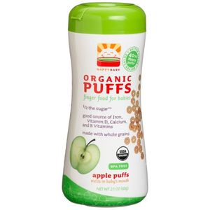 HAPPYBABY Organic Puffs, Apple Puffs, 6 -  2.1-Ounce Containers