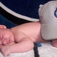 My daughter at 6 weeks. I love the NFL Colts. Can you tell? haha