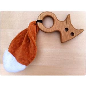 Oak Tree Arts Wooden Fox and Crinkle Tail Baby Teether