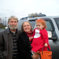 My parents and my little PONYO!  Her daddy did a really good job making this costume :-)