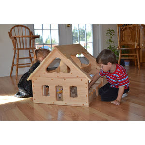 Image of: Natural Wooden Maine Dollhouse