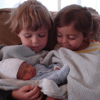 Avery with his big brother and sister.