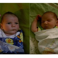 on the left is my son at a few weeks old, and on the right his sister at a few weeks. the resemblance is uncanny, in our opinion :)