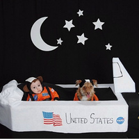 Our Son Archer (3 Months) as a Space Monkey and our Dog Splinter (3 Years) as a Space puppy in their very own NASA Shuttle!