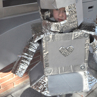 Our homemade girl robot costume that my 2 year old wore for Halloween.