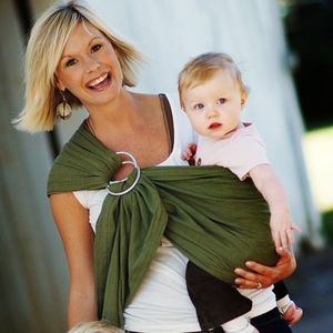MAYA WRAP Lightly Padded Baby Ring Sling Carrier (OLIVE GREEN- Medium)