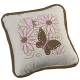 Butterfly Garden Embroidered Decorative Pillow