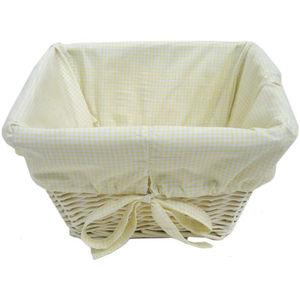 Painted Basket w/ Gingham Liner - Yellow