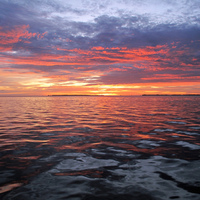 September sunset on Florida Bay, Key Largo.