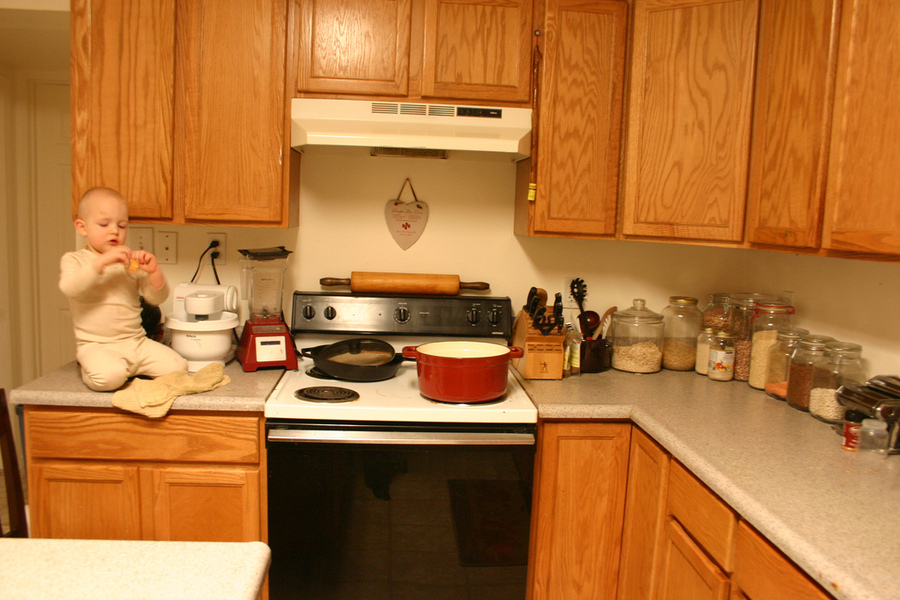 """Post pictures of you clean, clear space"".  Here's my kitchen!  I hid the sink because there were a few things left in it.  Hehe."