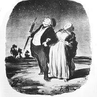"Honore Daumier ""An Unsuccessful Search for a Star"""