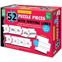 Carson Dellosa Key Education Write-On/Wipe-Off: 52 Puzzle Pieces with Writing Lines Manipulative (846038)