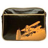 Cevan Metro Vintage Biplane Premium Diaper Bag Coated Canvas, Brown Gloss