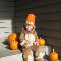 Our nearly two year old son, Calvin, was pretty sure his Halloween pumpkin was better suited as a hat.