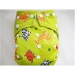 KaWaii Goodnight Heavy Wetter One Size Pocket Diaper Snap Closure - Green Animal Print