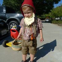 Mommy suggested construction worker, but he wanted to be Red Gnome from a story he knows.
