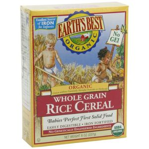 Earth's Best Organic Whole Grain, Rice Cereal, 8-Ounce Box (Pack of 12)
