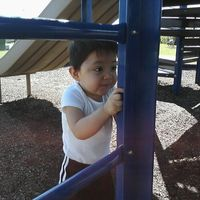 *he loves to feel everything instead of play at the playground lol