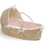 Moses Basket with Hood  - Solid - Pink