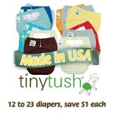 12 Pack TINY TUSH One-Size Diapers: Gender Neutral Colors, SNAP