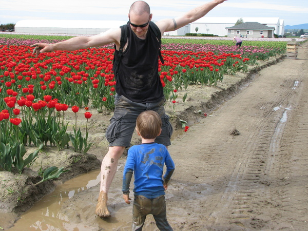 The boys playing in the mud at the Tulip Festival