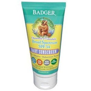 Badger Chamomile and Calendula Broad Spectrum SPF 34 Baby Sunscreen 2.9 oz