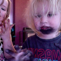 this is what happens when your 2 year old finds your black eye shadow lol :)