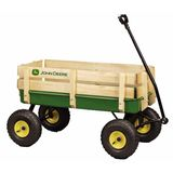 "Learning Curve John Deere - 36"" Steel Wagon with Wooden Stake Sides"
