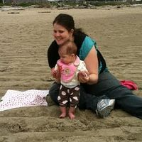 mommy and ellie at the beach
