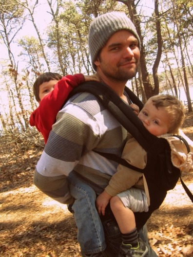 My amazing husband carrying both our boys on a walk! :)