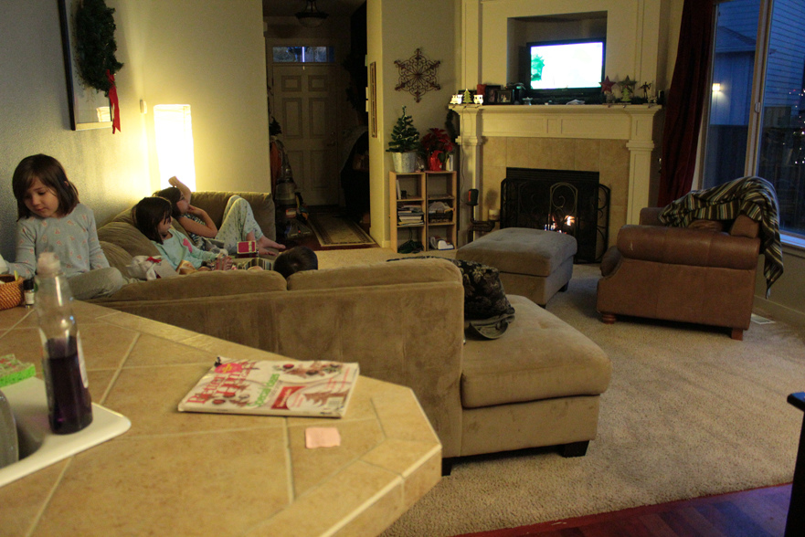 Kids relaxing in livingroom