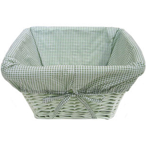 Painted Basket w/ Gingham Liner - Sage