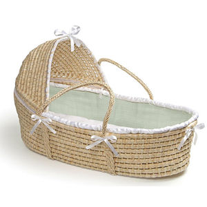 Moses Basket with Hood  - Solid - Sage