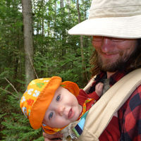 Caleb and Daddy hiking through the North Woods!