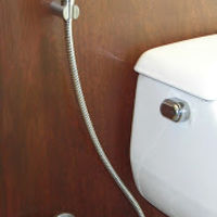"Stainless Steel ""Diaper Sprayer"" or Hand Held Bidet Sprayer with a 5 year warranty from www.bathroomsprayers.com."