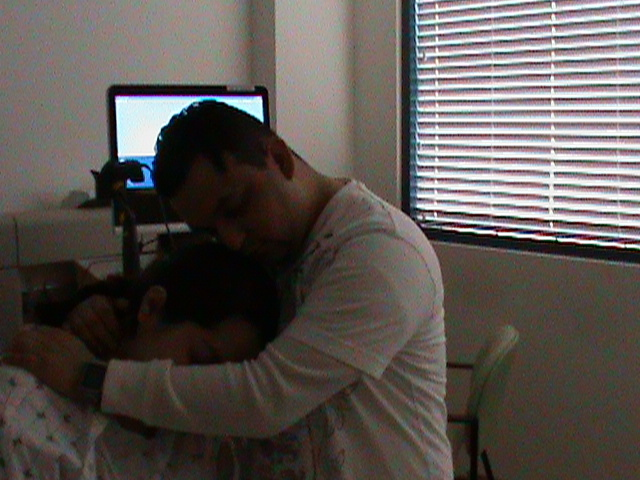 My sweet hubby and I during labor