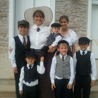 My children and I are dressed for a church service in the 1920s. :)