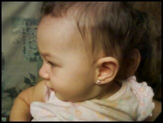 Just got her ears pierced.