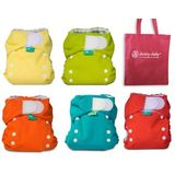 Bummis Tiny Fit Tots Bots Newborn Cloth Diaper 6 Pack Gender Neutral Colors with Reusable Dainty Baby Bag Bundle