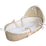 Moses Basket with Hood  - Solid - Ecru