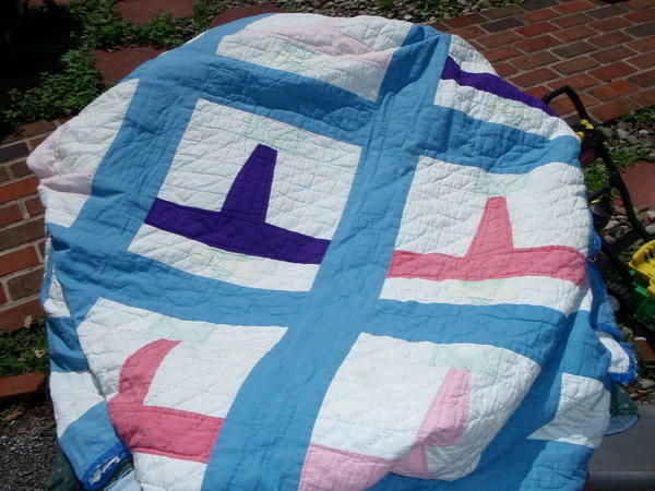 vintage Lindberg airplane quilt needs new home!